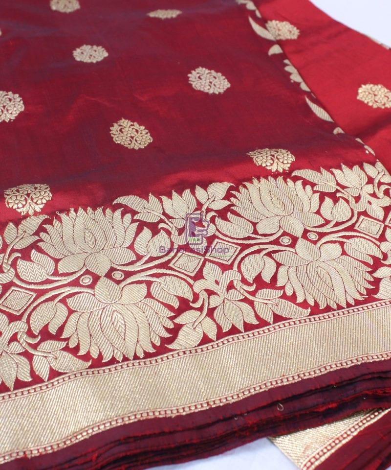 Handwoven Pure Katan Banarasi Silk Saree in Royal Red 1