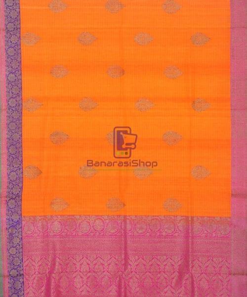 Banarasi Pure Handloom Dupion Silk Orange Silk Saree 5