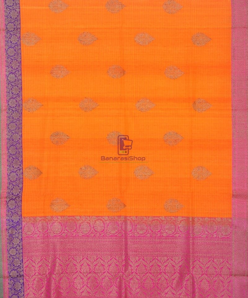 Banarasi Pure Handloom Dupion Silk Orange Silk Saree 2