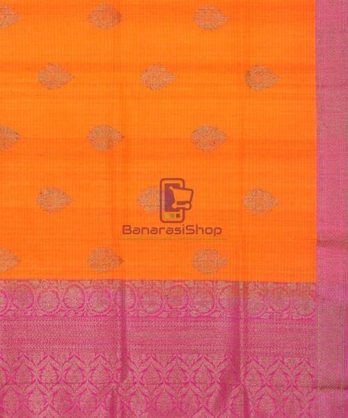 Banarasi Pure Handloom Dupion Silk Orange Silk Saree 6
