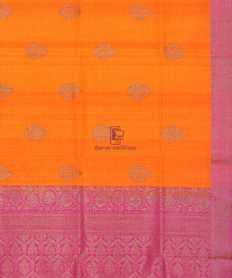 Banarasi Pure Handloom Dupion Silk Orange Silk Saree 3