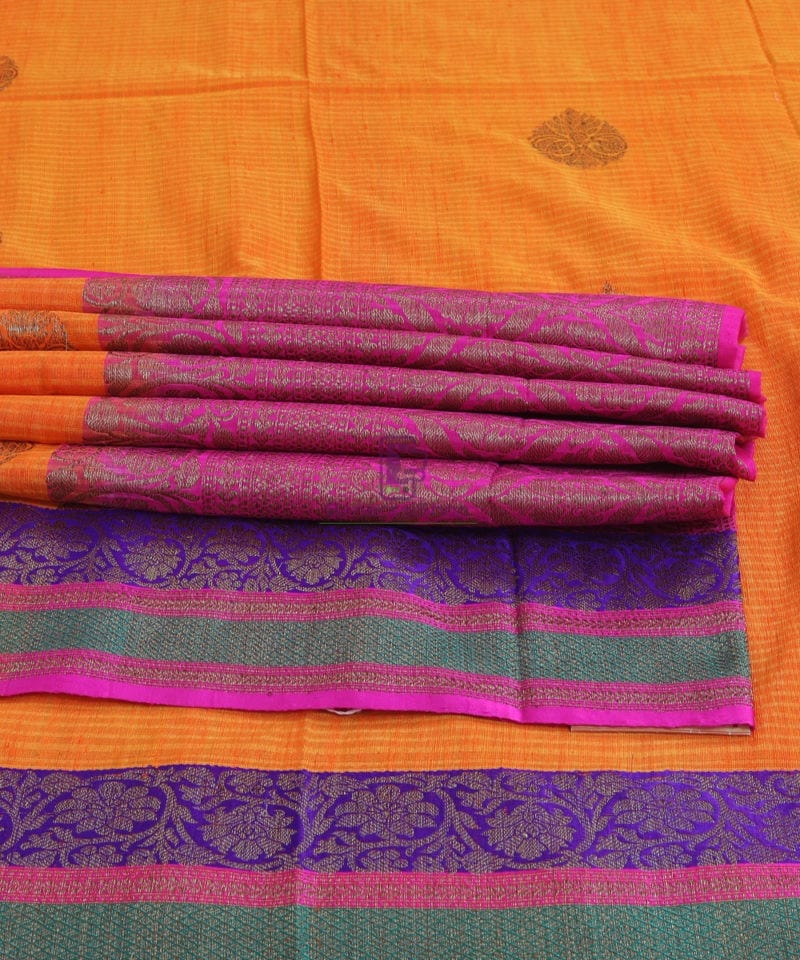 Banarasi Pure Handloom Dupion Silk Orange Silk Saree 1