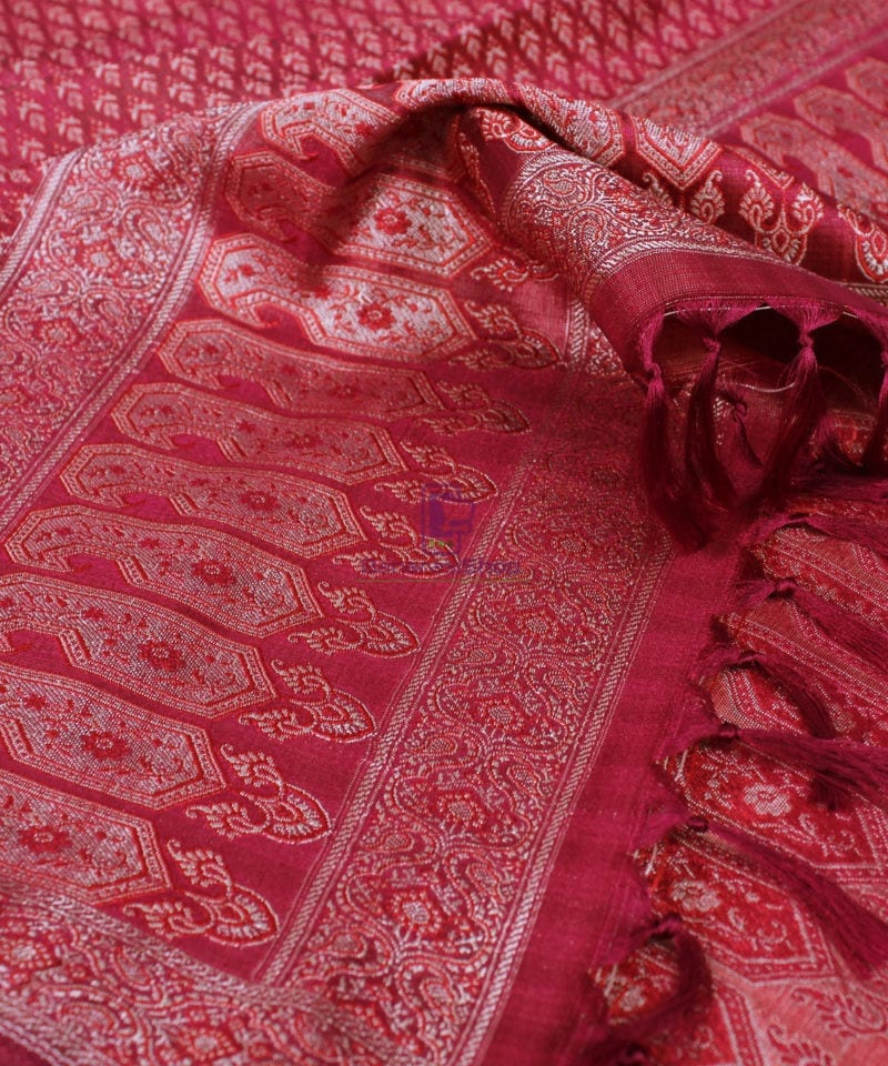 Handwoven Tanchoi Banarasi Silk Stole in Berry Red 1