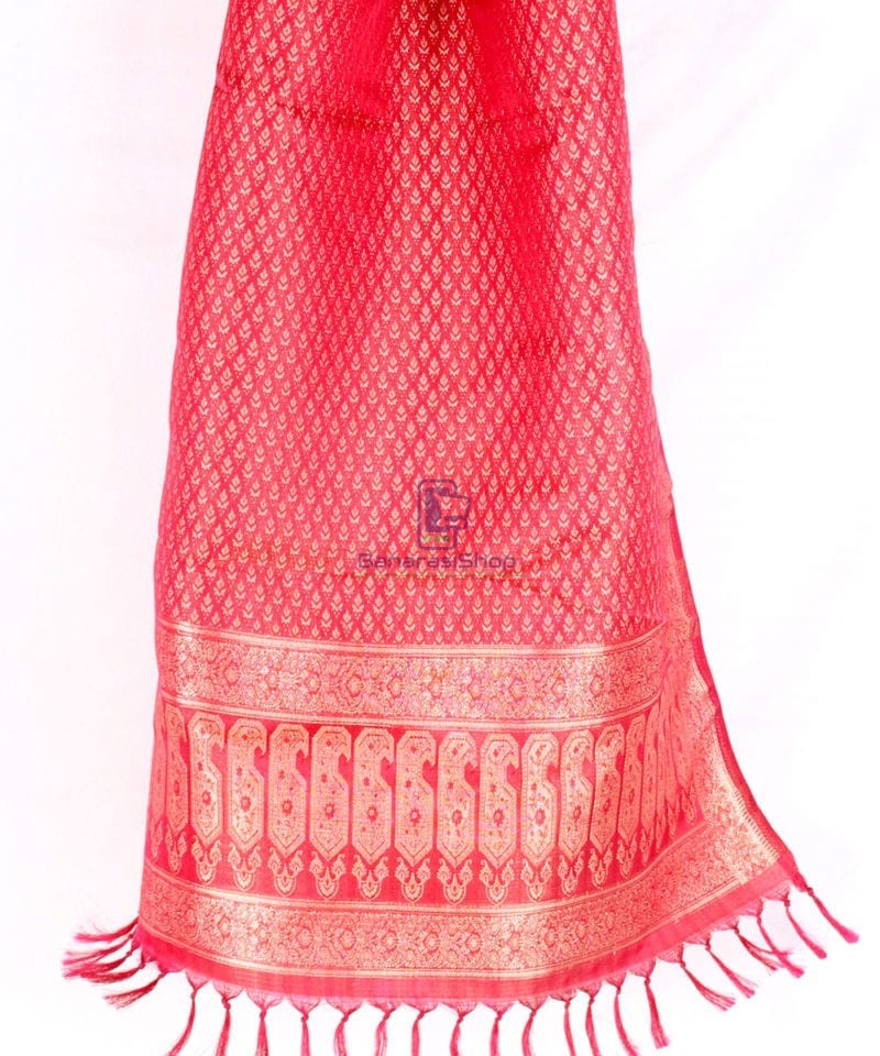 Handwoven Tanchoi Banarasi Silk Stole in Berry Red 3