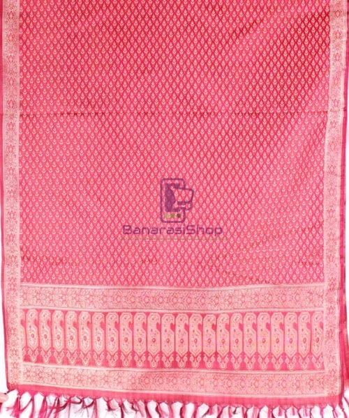 Handwoven Tanchoi Banarasi Silk Stole in Berry Red 4