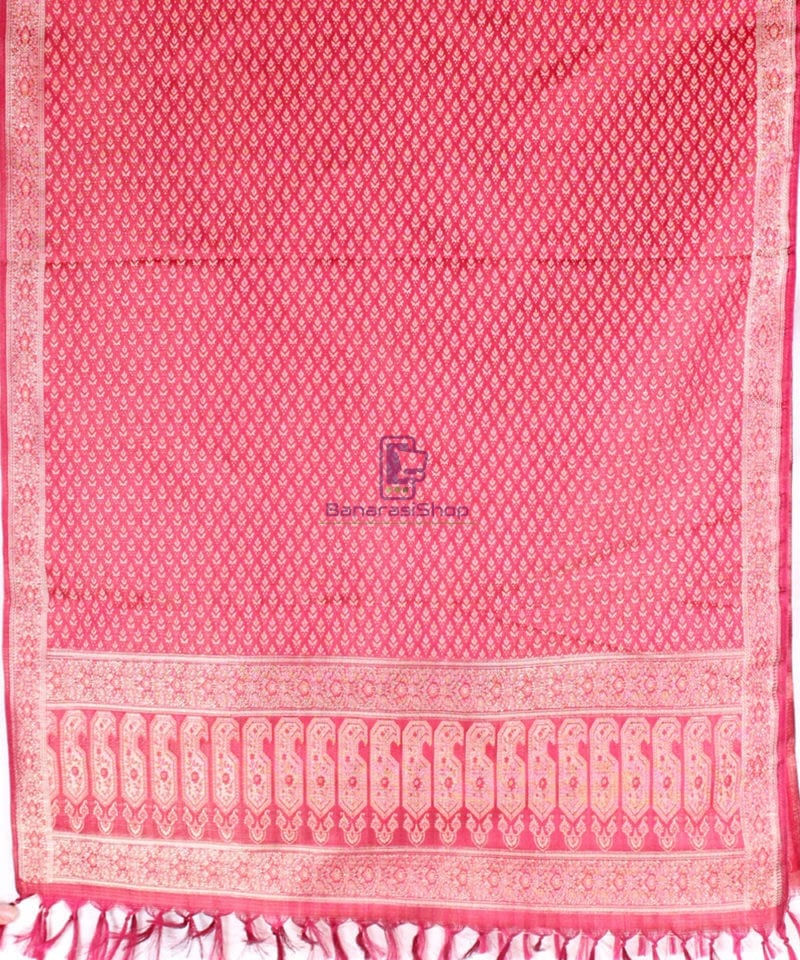 Handwoven Tanchoi Banarasi Silk Stole in Berry Red 2