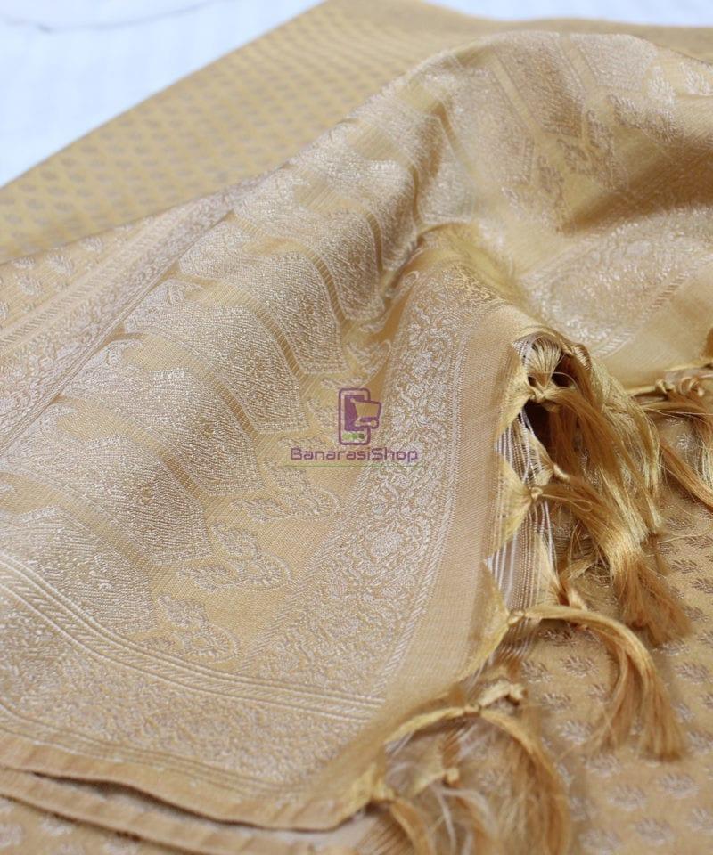 Handwoven Tanchoi Banarasi Silk Stole in Cool Yellow 1