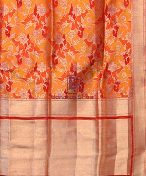 Handwoven Pure Banarasi Rankat Uppada Silk Tangerine Orange Saree 5