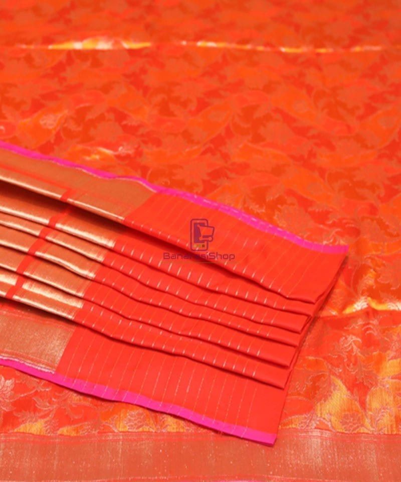 Handwoven Pure Banarasi Rankat Uppada Silk Tangerine Orange Saree 4