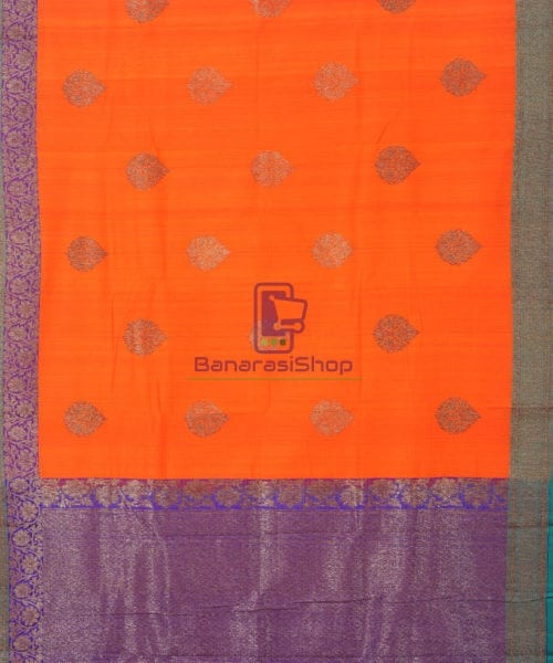 Banarasi Pure Handloom Dupion Silk Fire Orange Saree 5
