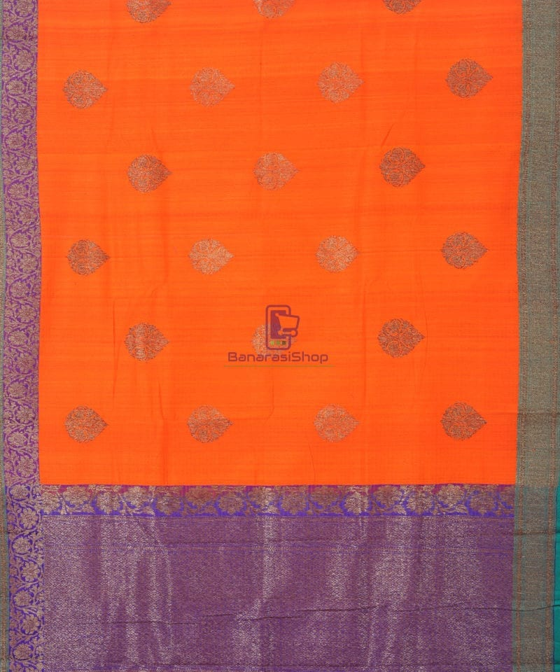 Banarasi Pure Handloom Dupion Silk Fire Orange Saree 2