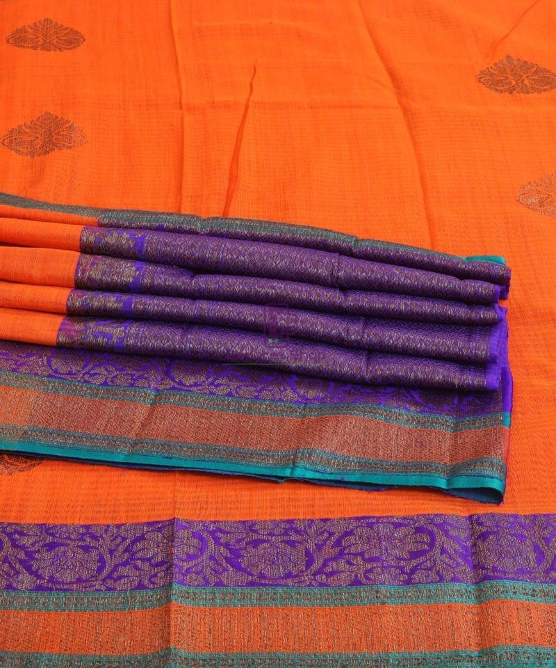 Banarasi Pure Handloom Dupion Silk Fire Orange Saree 1