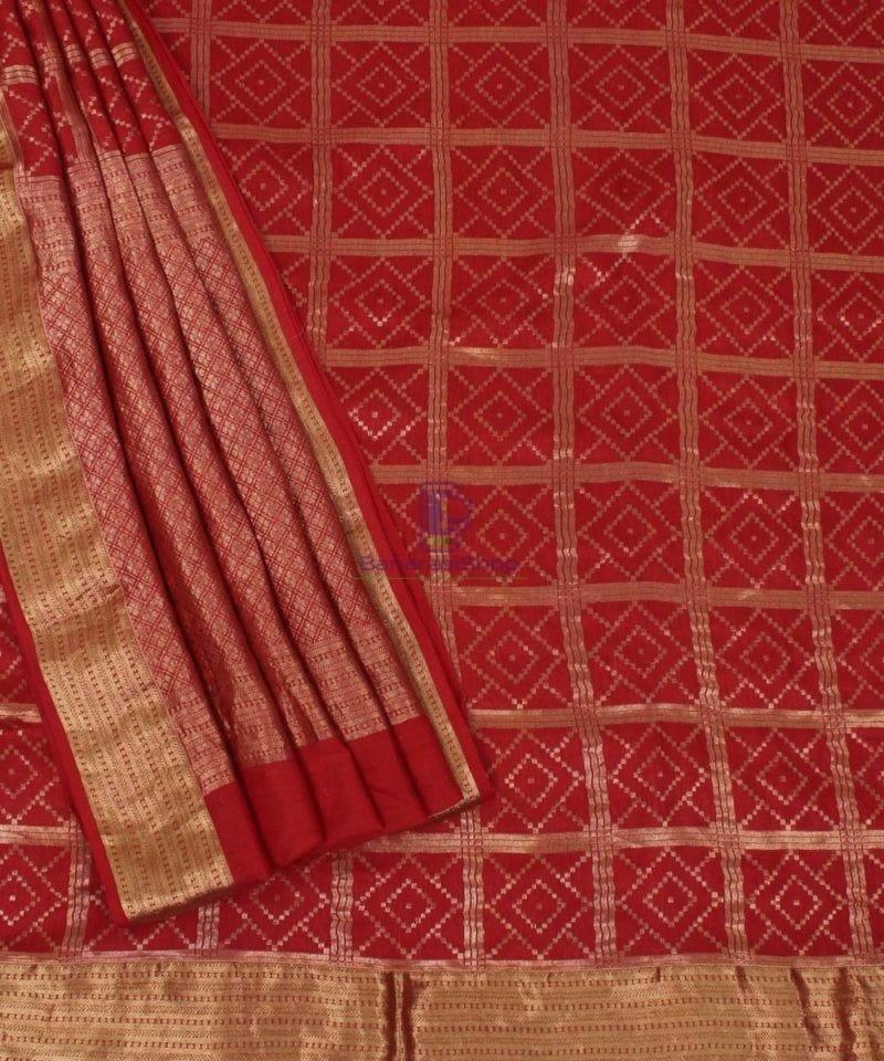 Pure Banarasi Muga Silk Handloom Saree in Brick Brown 3