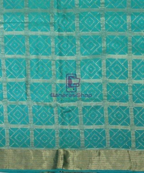 Pure Banarasi Muga Silk Handloom Saree in Cyan Green 4