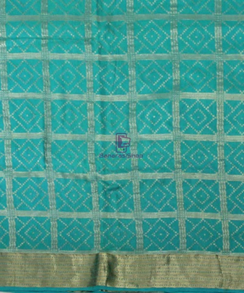 Pure Banarasi Muga Silk Handloom Saree in Cyan Green 2