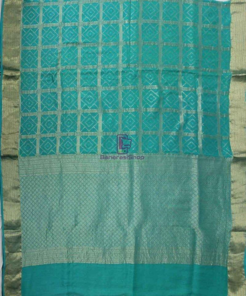 Pure Banarasi Muga Silk Handloom Saree in Cyan Green 1