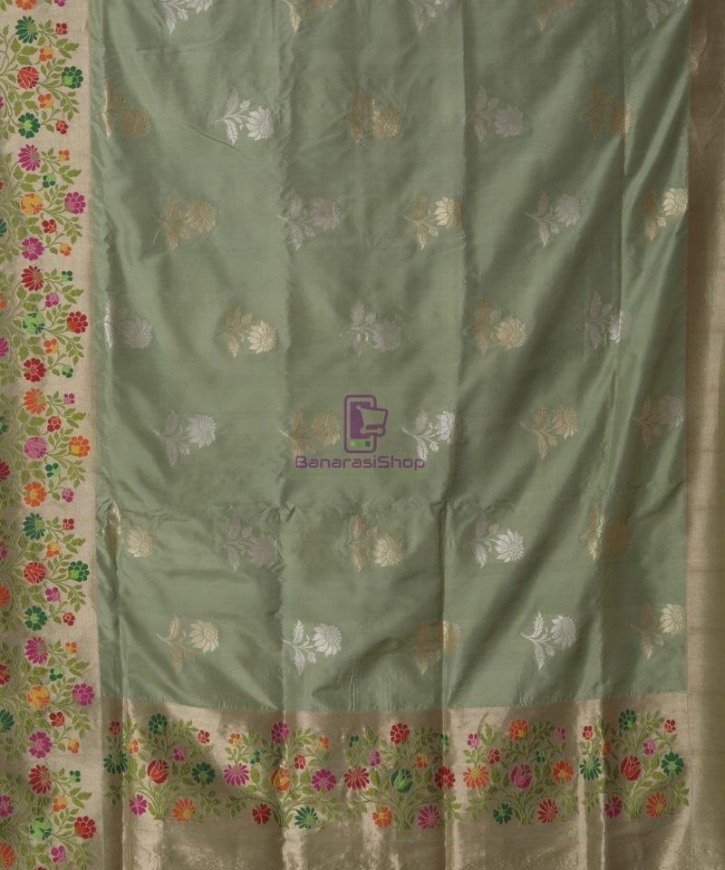 Pure Banarasi Uppada Silk Minedar Handwoven Fern Green Saree 1