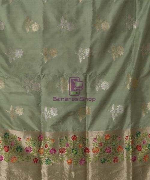 Pure Banarasi Uppada Silk Minedar Handwoven Fern Green Saree 5