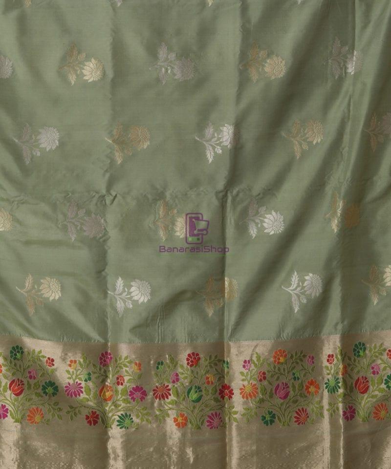 Pure Banarasi Uppada Silk Minedar Handwoven Fern Green Saree 2