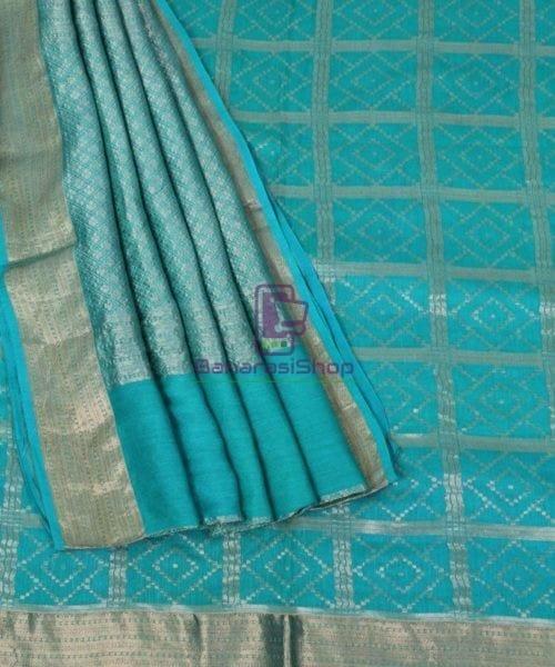 Pure Banarasi Muga Silk Handloom Saree in Cyan Green 5
