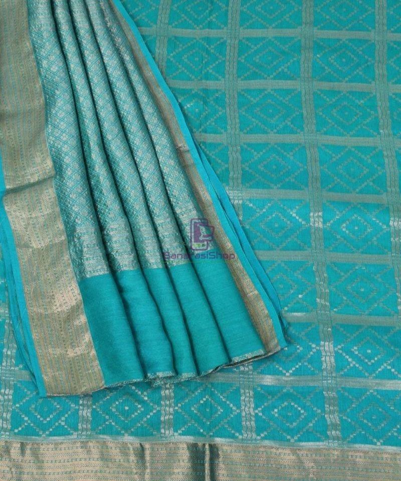 Pure Banarasi Muga Silk Handloom Saree in Cyan Green 3