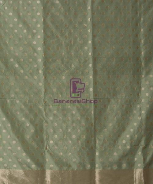 Pure Banarasi Uppada Silk Minedar Handwoven Fern Green Saree 6