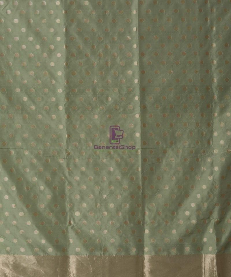 Pure Banarasi Uppada Silk Minedar Handwoven Fern Green Saree 3