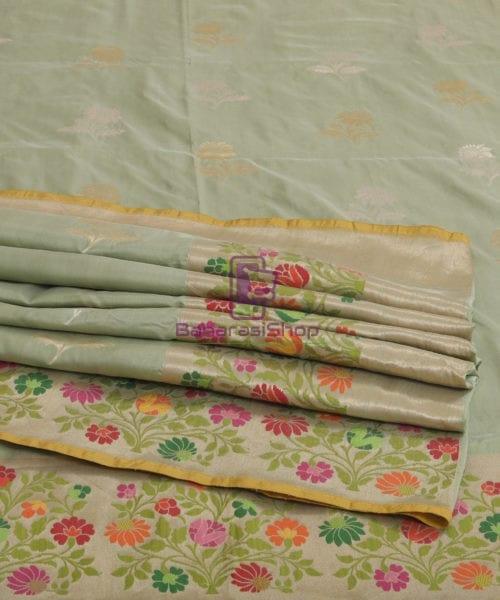 Pure Banarasi Uppada Silk Minedar Handwoven Fern Green Saree 7
