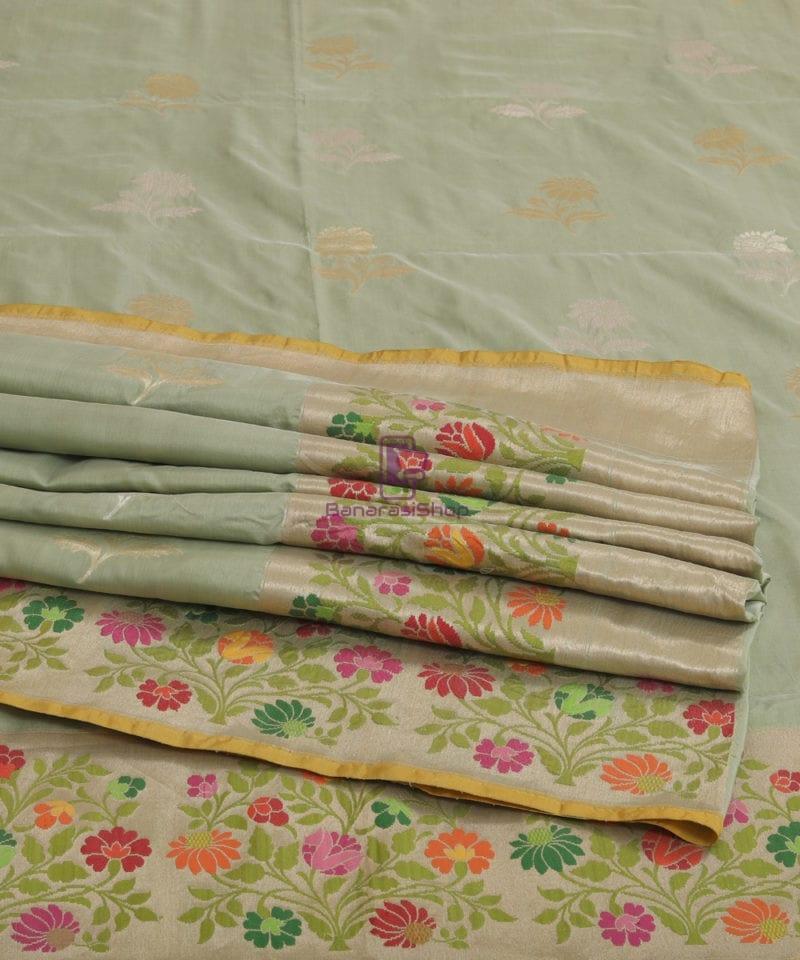 Pure Banarasi Uppada Silk Minedar Handwoven Fern Green Saree 4