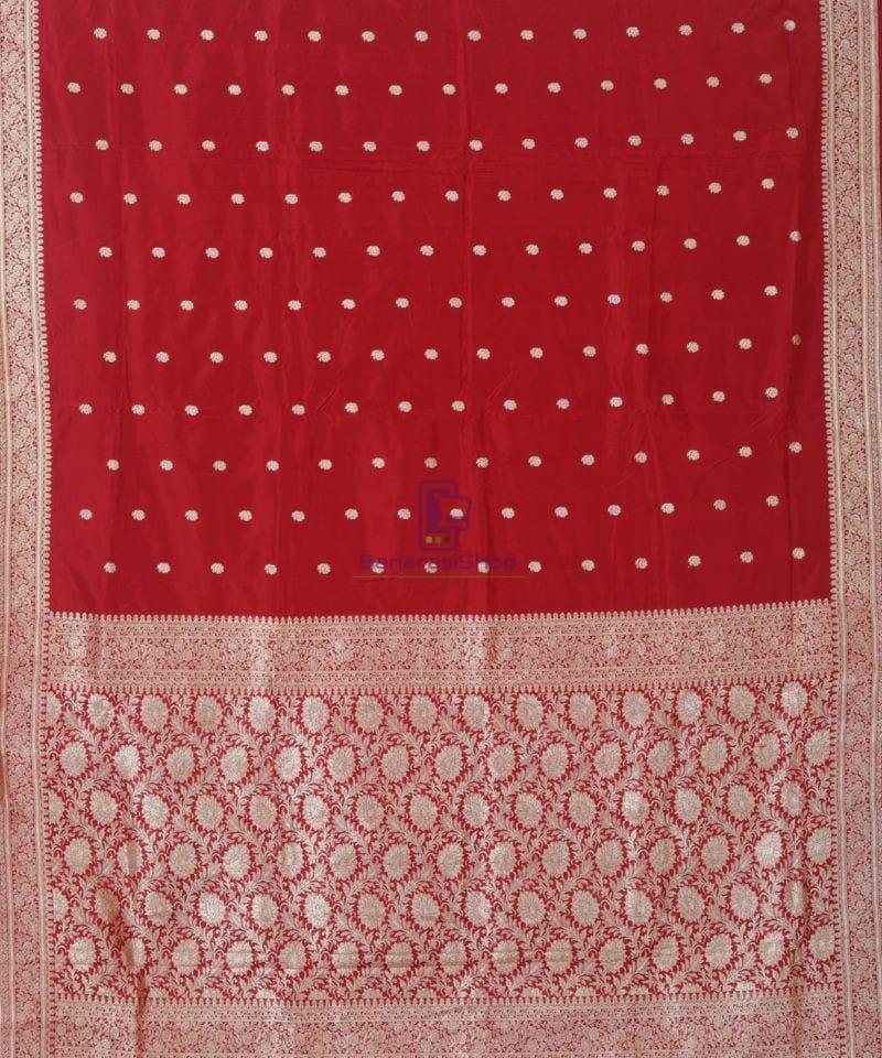 Banarasi Pure Katan Silk Handloom Red Saree 1
