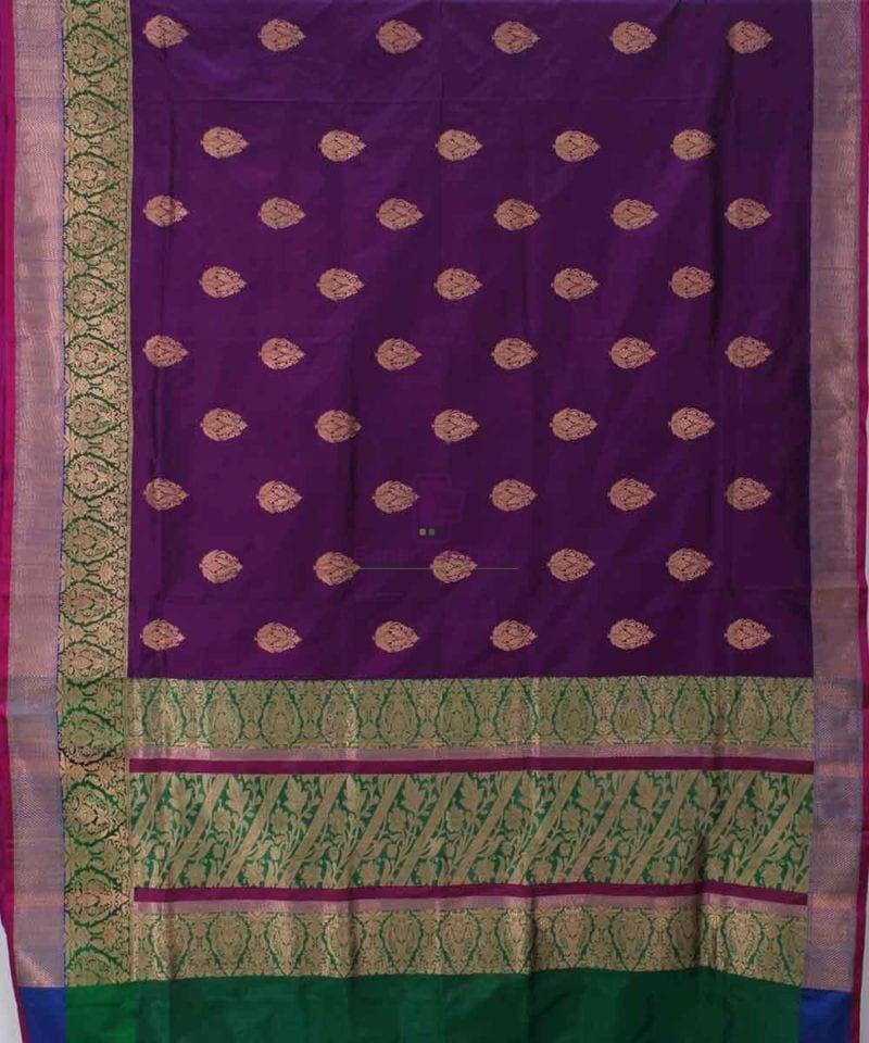 Banarasi Pure Katan Silk Handloom Plum Purple Saree 1