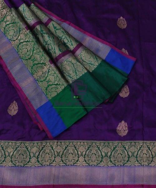 Banarasi Pure Katan Silk Handloom Plum Purple Saree 5
