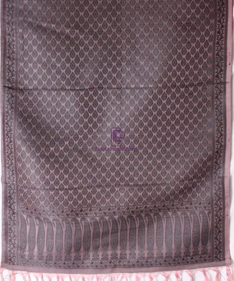 Handwoven Tanchoi Banarasi Silk Stole in Ash Rose 3