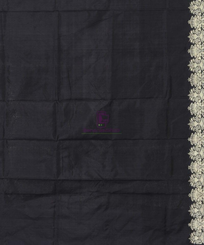 Banarasi Pure Katan Silk Handloom Jet Black Saree 3