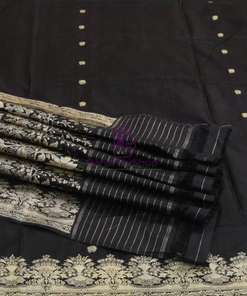 Banarasi Pure Katan Silk Handloom Jet Black Saree 7
