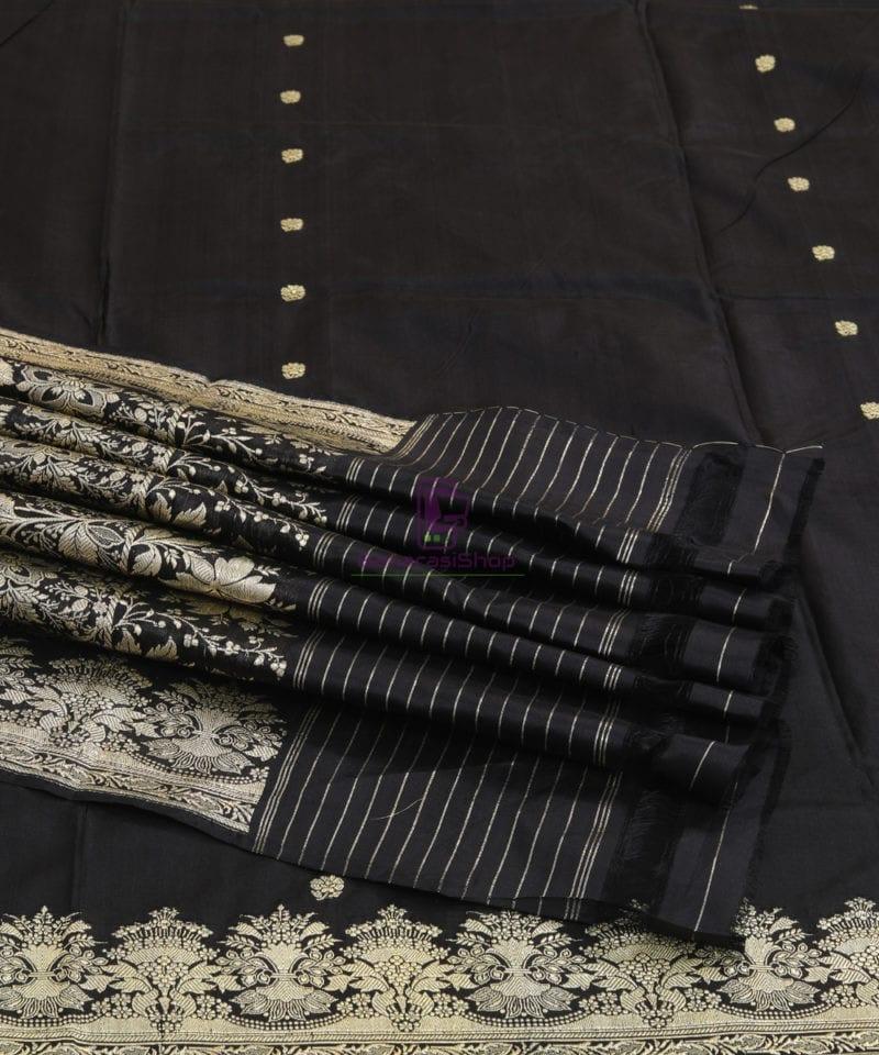 Banarasi Pure Katan Silk Handloom Jet Black Saree 4