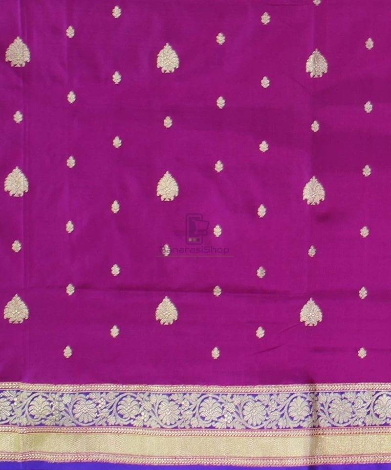Banarasi Pure Katan Silk Handloom Magenta Saree 2