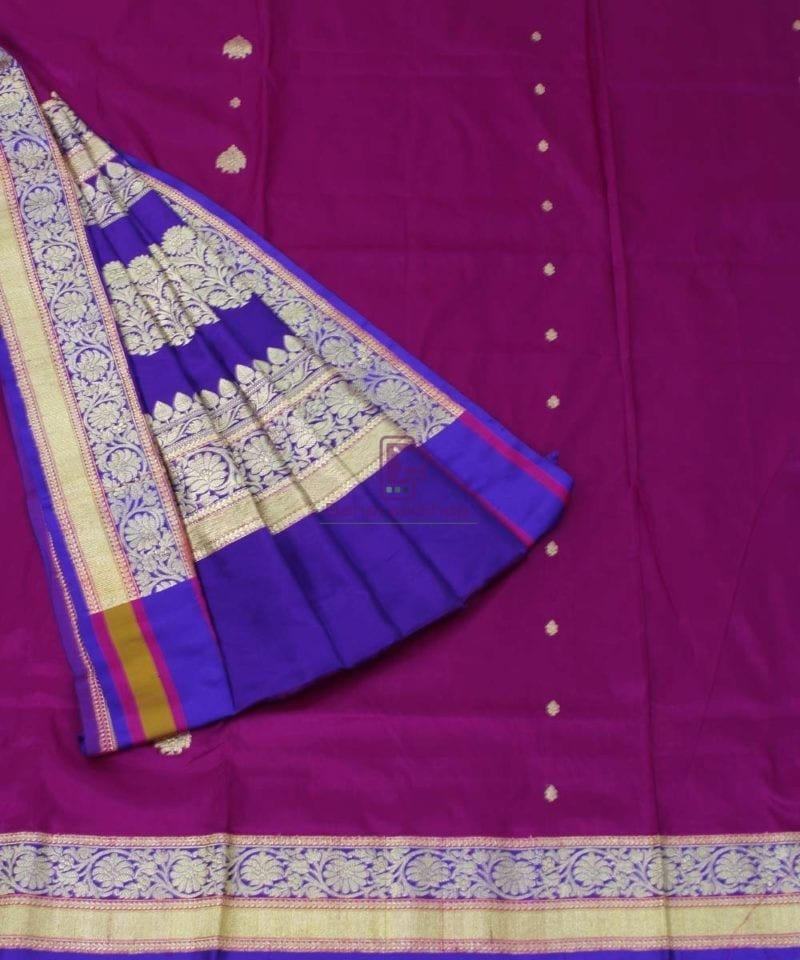 Banarasi Pure Katan Silk Handloom Magenta Saree 3