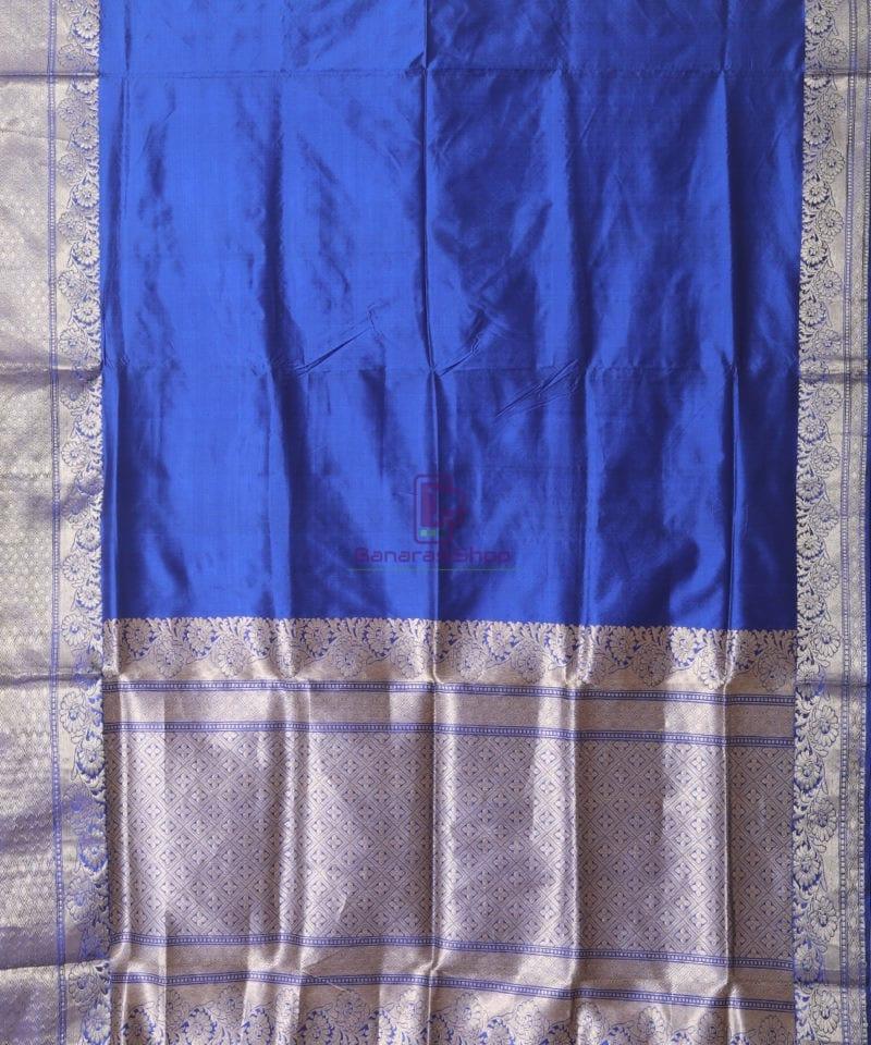 Banarasi Pure Katan Silk Handloom Berry Blue Saree 1