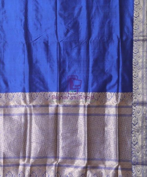 Banarasi Pure Katan Silk Handloom Berry Blue Saree 5