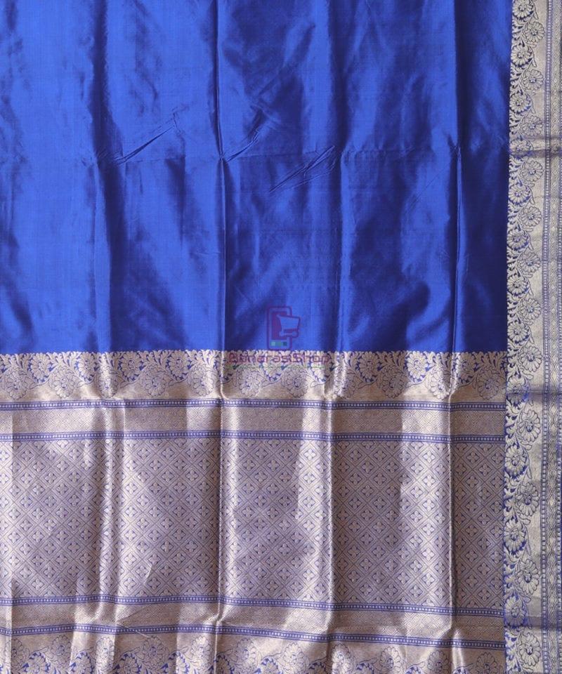 Banarasi Pure Katan Silk Handloom Berry Blue Saree 2