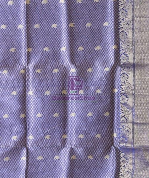 Banarasi Pure Katan Silk Handloom Berry Blue Saree 6