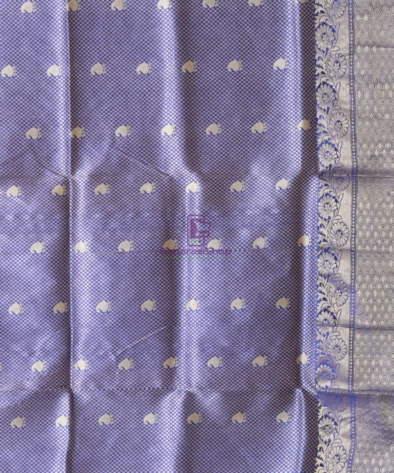 Banarasi Pure Katan Silk Handloom Berry Blue Saree 3