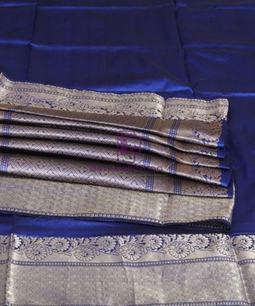 Banarasi Pure Katan Silk Handloom Berry Blue Saree 7