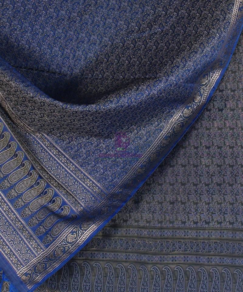 Handwoven Tanchoi Banarasi Silk Stole in Royal Blue 2