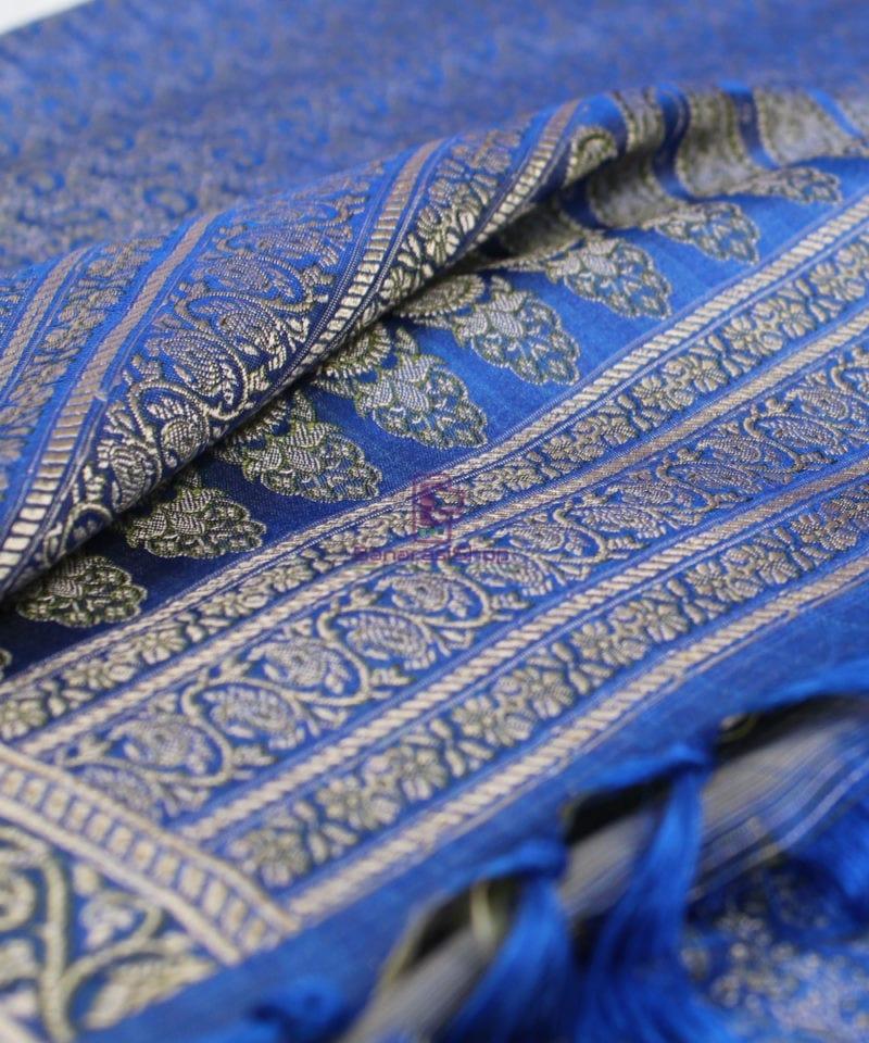 Handwoven Tanchoi Banarasi Silk Stole in Royal Blue 1