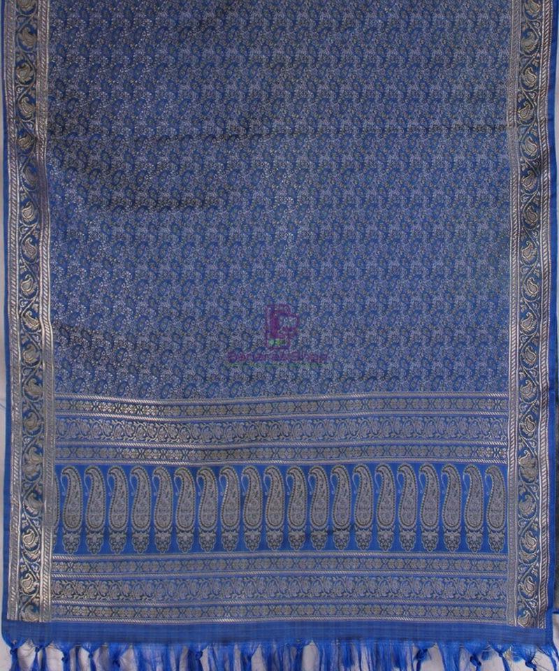 Handwoven Tanchoi Banarasi Silk Stole in Royal Blue 3