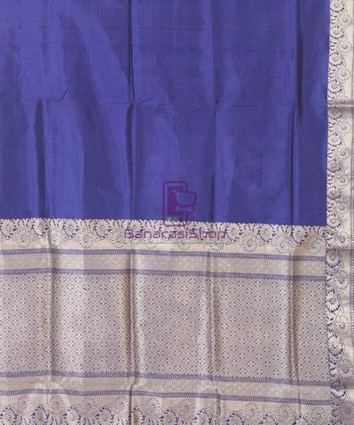 Banarasi Pure Katan Silk Handloom Blue Silk Saree 5