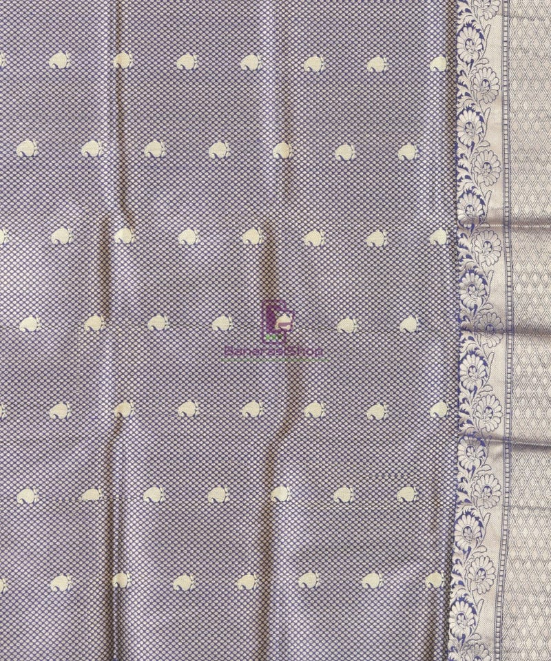 Banarasi Pure Katan Silk Handloom Blue Silk Saree 3