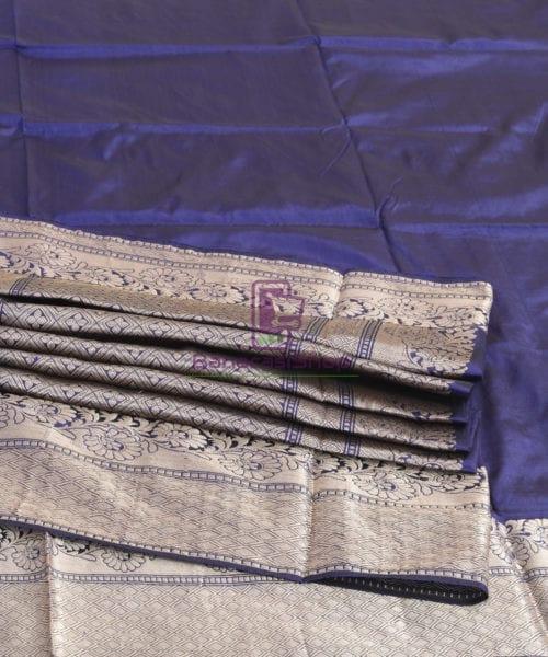 Banarasi Pure Katan Silk Handloom Blue Silk Saree 7
